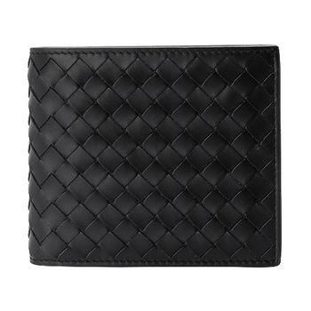 BOTTEGA VENETA 經典編織小羊皮中性萬用短夾(黑色)