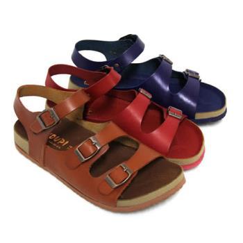 【Pretty】飽和色彩真皮飾釦沾黏式休閒涼鞋-紅色、藍色