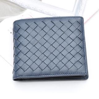 【Yasmine】巴黎時尚風羊皮編織中性短夾(深藍色)