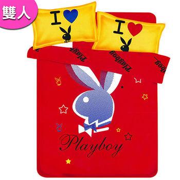 【PLAYBOY】紐約時尚法蘭絨雙人床包被套四件組(B0607-EM)