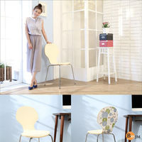 BuyJM 青花瓷皮革8字曲木餐椅/電腦椅/休閒椅