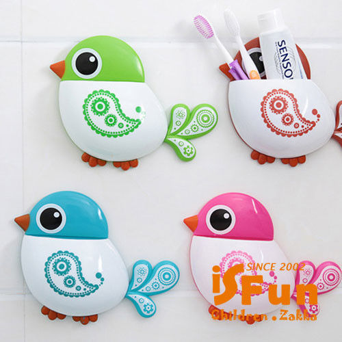 【iSFun】繽紛小鳥*吸盤衛浴收納架/三色可選