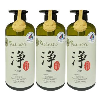 AiLeiYi天然潤膚沐浴精-淨茶樹艾草1000ml(3瓶/組)