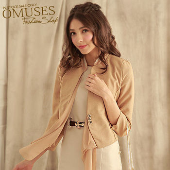 【OMUSES】OL雪紡西裝式外套11-6934(卡其 . 黑 S-XL)