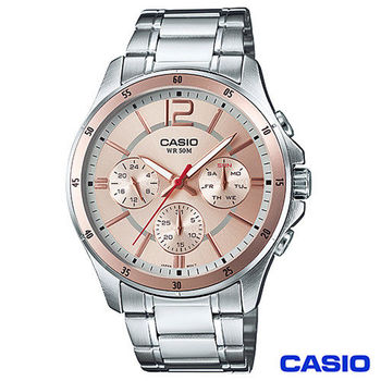 CASIO卡西歐 時尚三眼爵士石英腕錶 MTP-1374D-9A