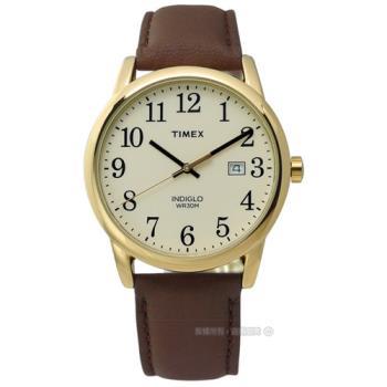 TIMEX 天美時/ TXT2P75800 / INDIGLO 美國復古潮流真皮腕錶 米x金框x咖啡 38mm