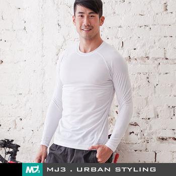 【MJ3】基本款吸排圓領長袖上衣-男(經典白)-143232200