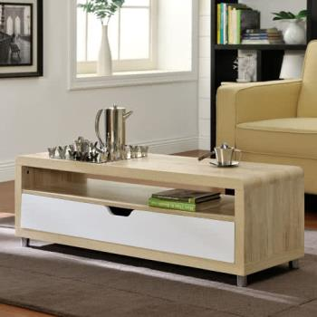 咱的厝 大抽屜收納茶几桌/邊桌/電視櫃(淺橡+白色)