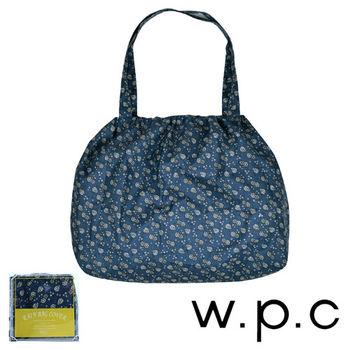 【w.p.c】時尚包包雨衣/束口防雨袋(藍底小花)