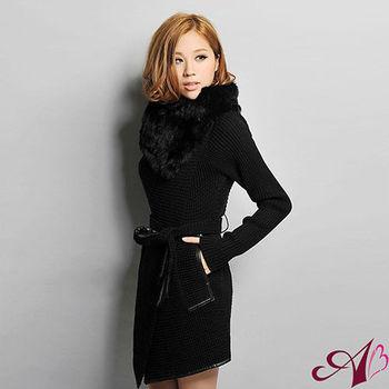 【A3】引爆歐美時尚圈-兔毛領厚磅針織長版大衣