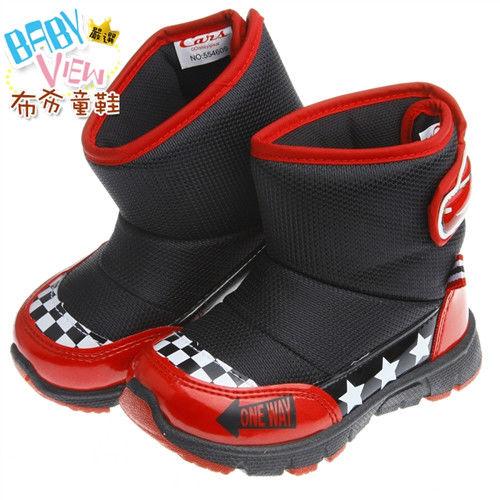 《布布童鞋》DisneyCars閃電麥坤經典黑賽車款兒童靴(15~20公分)MLN609D