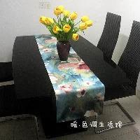 【協貿】時尚暈染水墨畫中國畫風荷花蓮花唯美餐桌桌旗