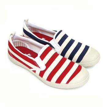【Pretty】海軍風經典條紋休閒平底鞋-紅色、藍色