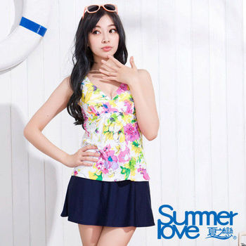 SUMMERLOVE 夏之戀 彩漾花朵假兩截連身帶裙泳衣-S15758