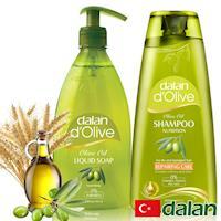 【土耳其dalan】橄欖油液體香皂400ml+橄欖油小麥蛋白修護洗髮露400ml