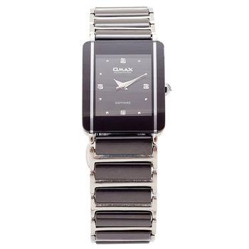 【OMAX】優雅時尚晶鑽陶瓷方形女錶(黑色)