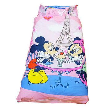 【DISNEY】迪士尼米奇米妮二用幼教兒童睡袋-甜蜜巴黎篇(粉紅)