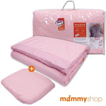 媽咪小站-嬰兒乳膠加厚中床墊+護頭枕(圓點粉)