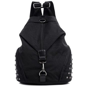 【Acorn*橡果】韓風鉚釘輕量尼龍防水後背包側肩包6529(夜黑)