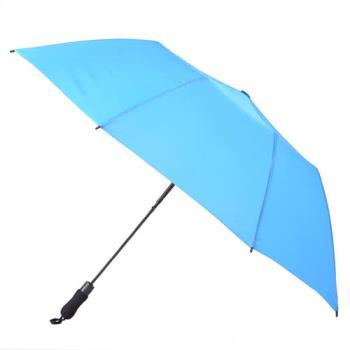 2mm 貝斯運動風大傘面兩折自動傘 天藍