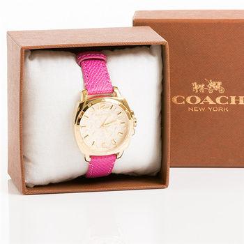 COACH Boyfriend  面紗 C Logo浮雕時尚腕錶 34mm(共二款)