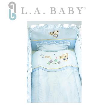 【美國 L.A. Baby】熊寶貝純棉五件式寢具組(S)(MIT 藍色/粉色/米黃色)