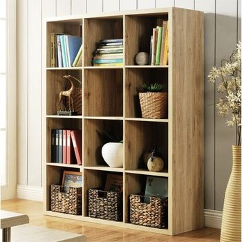 【咱的厝】時尚設計十二格櫃/書櫃/置物櫃/收納櫃/隔間櫃(淺橡色)
