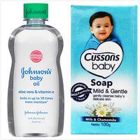 【美國 Johnsons 嬌生】嬰兒潤膚油-蘆薈清爽(14oz/414ml)*3+CUSSONS佳霜嬰兒香皂(100g)藍色*36