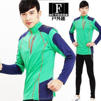 【戶外趣】男立挺帥氣機能速乾拼色運動機能抗UV防曬上衣(C583203綠色 )