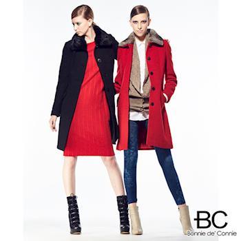法國BC設計魚骨織紋羊毛大衣(紅/黑任選)