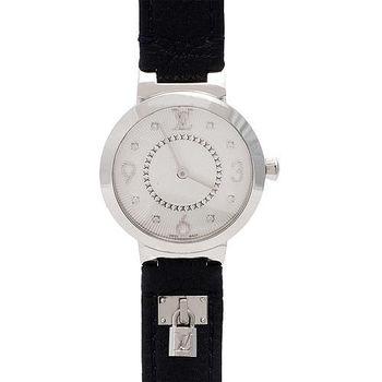 LV Q12MG1 TAMBOUR小牛皮鎖頭造型原花鑲鑽錶盤石英腕錶(藍/28mm-展示品)