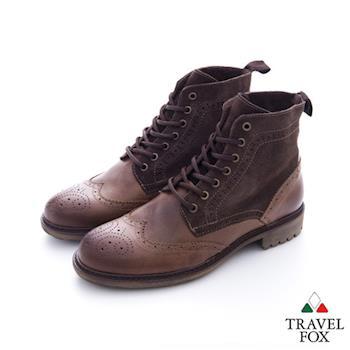 Travel Fox(男) 完美特務  硬挺方頭牛皮綁帶高筒牛皮靴 - 咖