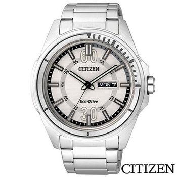 CITIZEN星辰 Eco-Drive個性時尚設計男仕腕錶-銀 AW0030-55A
