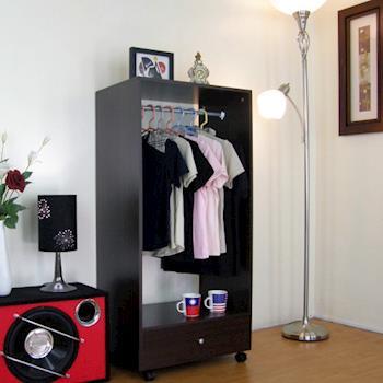【頂堅】單桿+大抽-吊衣櫃/吊衣櫥-深胡桃木色