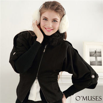 【OMUSES】毛領飛鼠袖外套11-7708(S-XL)