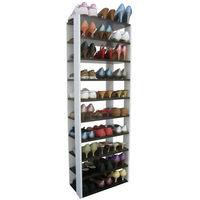 【Dr. DIY】十層開放式鞋架/鞋櫃/置物架(深胡桃木色+白色)