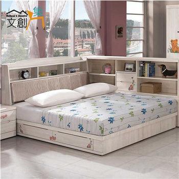 文創集 泰貝莎 5尺白木紋色雙人床三件式組合(床頭箱+床台+床墊)