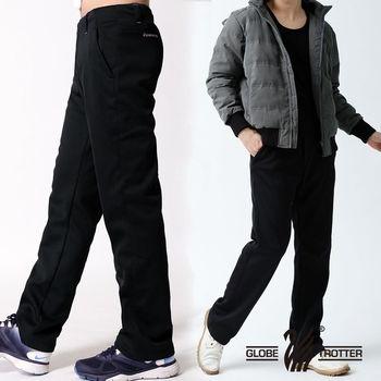 【遊遍天下】中性款合身保暖防風刷毛長褲A071黑