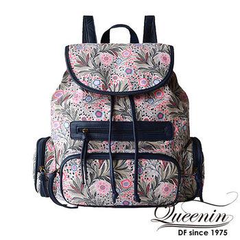 DF Queenin日韓 - 人氣民俗風帆布款後背包