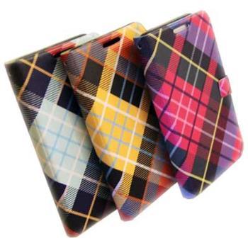 HAPPYMORI SAMSUNG GALAXY J N075 亮彩格紋 書本式皮套