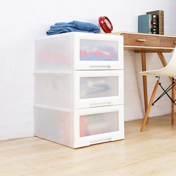 【HD】收納職人 Mabel 馬貝爾現代簡約風視窗抽屜整理箱(大)3入/組