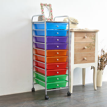 【ikloo】可移式十層抽屜收納箱