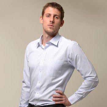 【金安德森】藍色寬排紋窄版長袖襯衫