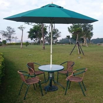 兄弟牌80cm玻璃桌綠色+PE藤椅一桌四椅組(含綠色玻纖傘及12KG傘座)