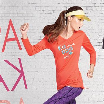 KAPPA義大利女吸濕排汗速乾彩色圓領長袖衫 杮橘 薄荷綠-FA56-F053-2