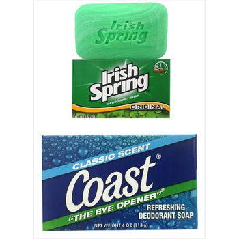 【美國 Irish Spring】清新體香皂美國(4oz/113g)*12+ Coast 經典海洋運動香皂-經典香味(4oz/113g)*12