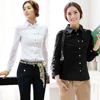 (現貨)Bubble❤CoCo 韓版OL氣質修身棉質襯衫UB176