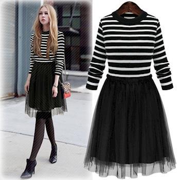 Bubble❤CoCo黑白條紋針織拼接紡紗假兩件連衣裙EA338現+預