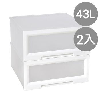 【SONA MALL】晶白透窗單層抽屜整理箱(單層43公升) 2入