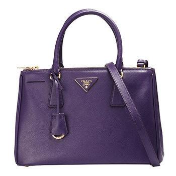 PRADA Saffiano Lux三角浮雕LOGO牛皮雙拉鍊手提/斜背包(中-紫色)